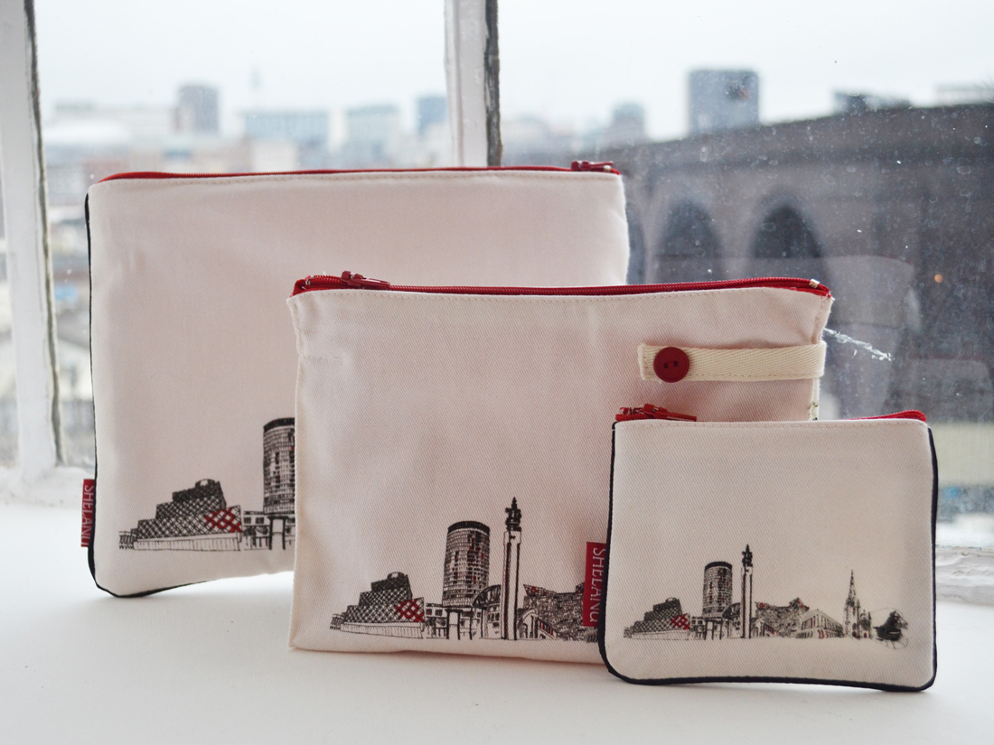 bag for iPads, washbag and purse with buildings of Birmingham