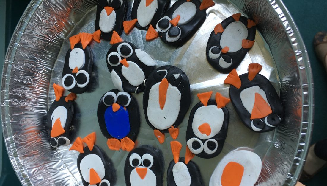 penguin badges from polymer clay