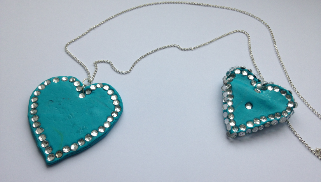 polymer clay hearts jewellery with diamante decoration