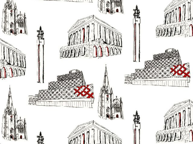 repeat pattern print of drawings Birmingham buildings