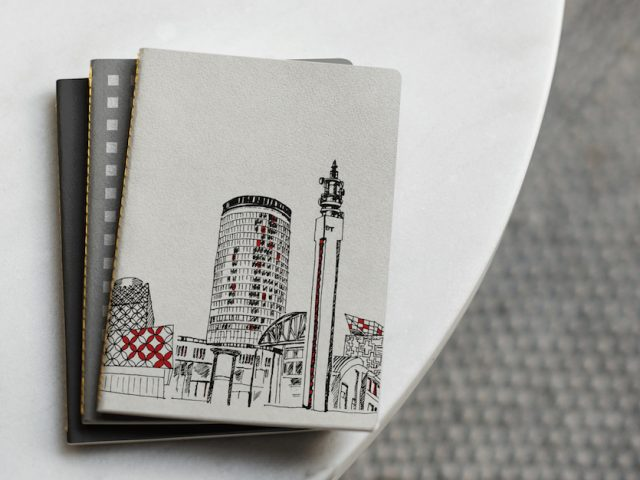 print of Birmingham buildings on notebook