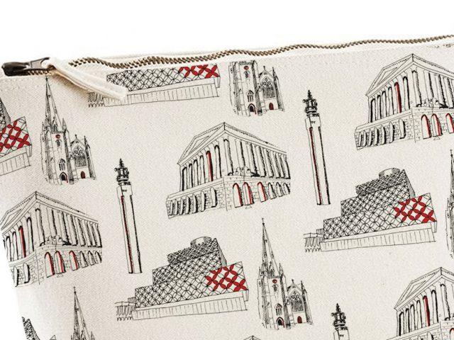 repeat pattern drawings of Birmingham buildings on a wash bag